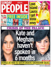 Front page of Daily Mirror's Sunday People section 011220