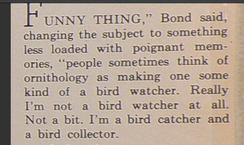 RJB Bird collector not birdwatcher quote